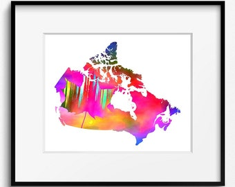 Canada Watercolor Map Art Print (533) North America, Maple Leaf