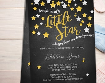 Twinkle Twinkle Little Star Baby Shower Invitation TEMPLATE - Editable PDF Template - DIY -  Create today!