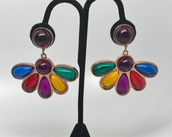 Beautiful Vintage Colorful Lucite Cabochons Dangle Earrings
