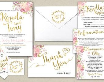 Floral, rustic, BOHO, Wedding Invitation Printable, Kraft,Wedding Invitation Suite, RSVP, monogram, info card, hand lettered typography
