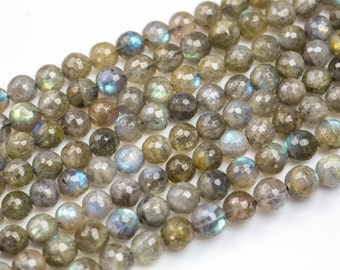 Gorgeous Labradorite, High Quality in Faceted Round, 4mm, 6mm, 8mm, 10mm- In Full 15.5 Inch Strands