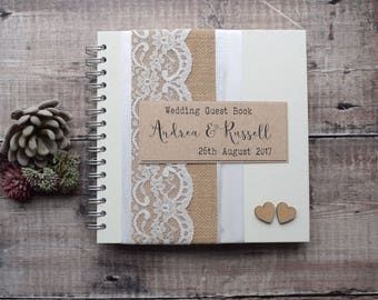 Burlap Rustic Wedding Scrapbook with Wooden Hearts, Guest Book or Wedding Planner - Handmade and Personalized - Choose No. of Pages