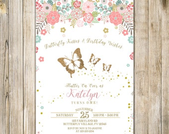 FLORAL BUTTERFLY First BIRTHDAY Invitation, Blush Pink Teal Gold Butterflies Invite, 1st Birthday Party, Girl One Rustic Enchanted Garden
