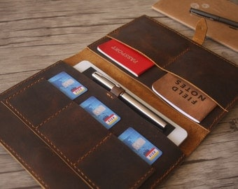 """Leather iPad Air Case Portfolio, 9.7"""" iPad Pro Sleeve, iPad Covers, Hand Stitched Travel Folio, Passport, Notebook Cover, Distressed Brown"""