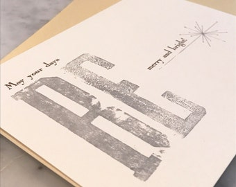 Be Merry and Bright! Letterpress Christmas Card