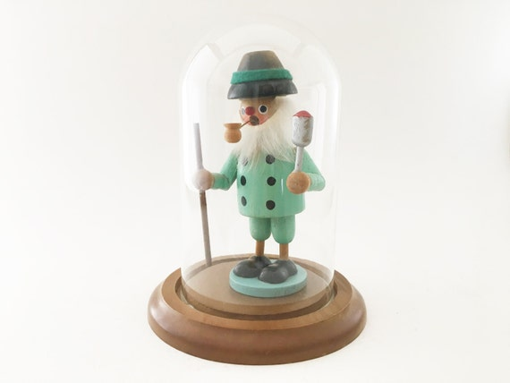 Vintage German Smoker Man Incense Cone Burner in glass display dome.