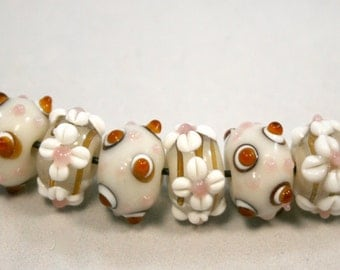 Mocha and Cream Glass Lampwork Beads With Bumps and Raised Flowers  8 Beads (8x14 mm)