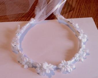 Communion Flower Crown Ribbon Halo Head Piece Wreath Garland Sage Light Green Ivory C-Jean