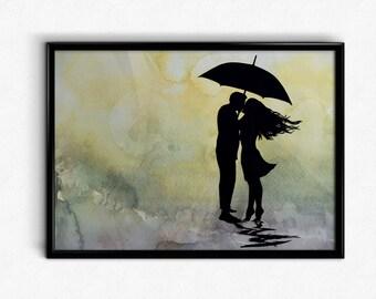 Romantic Print / Couple Silhouette Print / Silhouette Print / Kissing Couple / Kissing Couple Print / Romantic Art Print / Silhouette Art