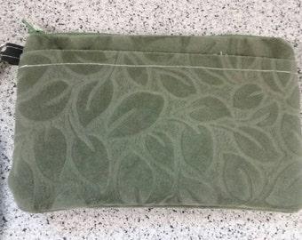 Handmade Microfiber Green Leaf Print Wallet Wristlet Phone Case with strap