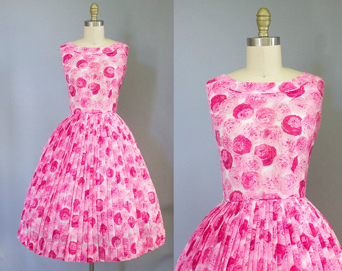 1950s rose print dress/ 50s pink cotton floral sundress/ extra small xs
