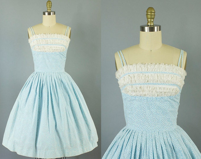 1950s blue floral shelf bust sundress/ 50s lace spaghetti strap dress/ small
