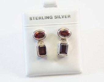 Oval and Rectangle-Shaped Garnet Earrings