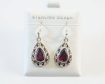 Balinese Pear-Shaped and Filigree Design Earrings
