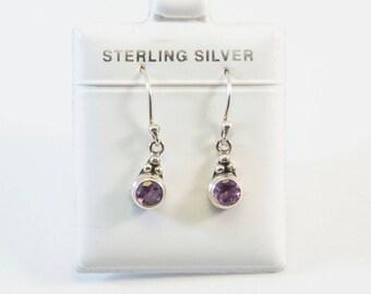 Round-Shaped Amethyst Bezel Set Dangling Earrings