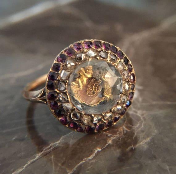 Rare Stuart Amethyst Old Cut Diamonds And Rock Crystal Ring