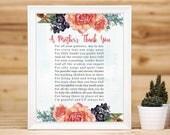 Teacher Appreciation Print Printable Teacher Gift Childcare Teachers Gift Digital Download Teacher Gift A Mothers Thank You Poem Floral Tag