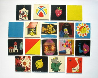 18 memory game cards with retro graphics from a vintage 60s memory game