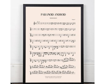 Paranoid Android, Radiohead, bedroom art, Printable art poster, kitchen art, bar art, INSTANT DOWNLOAD, sheet music, studio art, 90s