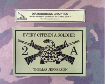 """2nd Amendment vinyl decal with crossed AR-15s (4""""x6"""")"""