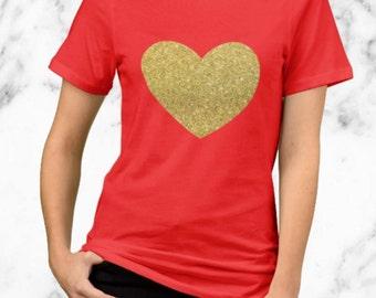 Gold Heart - Valentine's Day Shirt - Gold Glitter Design