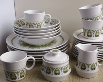 Vintage Noritake Palos Verde Plate set with serving pieces - Palos Verde plates, bowls, butter plates, teacups and saucers - Noritake Plates