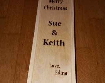 Hand engraved wooden wine box with messages