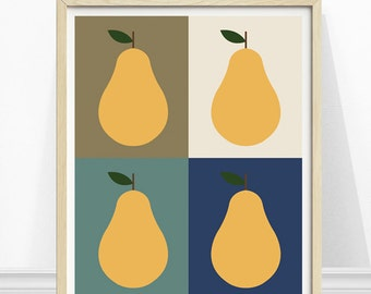 Pear Art Print, Scandinavian Kitchen Art, Pop Art, Kitchen Pears, Yellow Pears, Navy Kitchen Art
