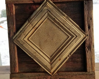 Barnwood and Tin Ceiling Wall Hanging