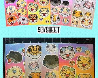 Homemade leopard gecko sticker sheets