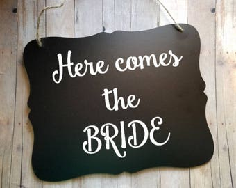 Here Comes The Bride Wedding Sign - Flower Girl Sign - Ring Bearer Sign - Ring Bearer - Wedding Decor - Photo Prop