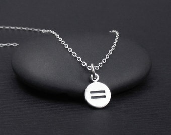 Equality Neckace Sterling Silver LGBT Necklace, Tiny Equality Symbol Necklace, Equal Rights Necklace,Gay Pride Necklace, LGBT Jewelry