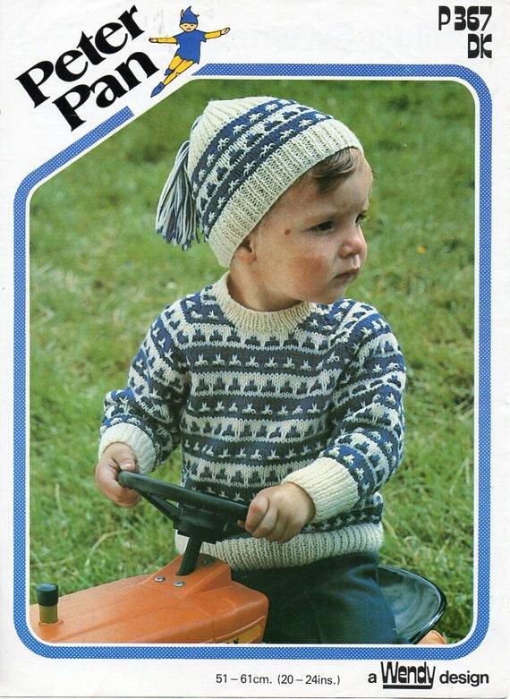 vintage baby childs fair isle sweater hat knitting pattern pdf DK ...