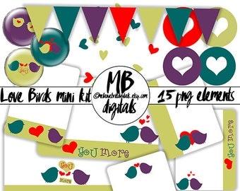 LOVE BIRD CARDS, Clip Art, Journaling, Digital Download