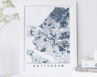 Rotterdam map etsy rotterdam map minimalist rotterdam art print customizable city map high quality giclee print sciox Gallery