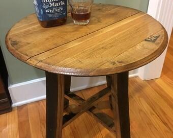 Bourbon Barrel Table, barrel head, bourbon barrel furniture, end table