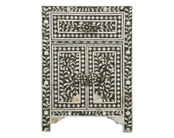 Bone Inlay Furniture -  Black Nightstand Side Table Floral Pattern | Free Shipping