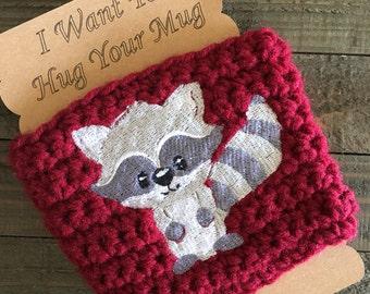 Crochet raccoon coffee cozy, travel mug cozy, coffee mug cozy, coffee gifts, coffee lovers gift, raccoon gifts, coffee cozy, coffee gifts.