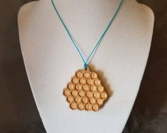 Honeycomb necklace, honey comb necklace