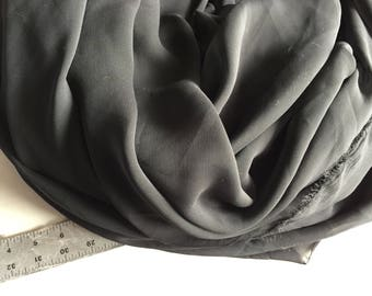 Chiffon in Black, sheer with flow, 1+ yard piece, made in Italy