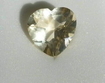 Yellow andesine labradorite 12x12mm 4.25ct heart