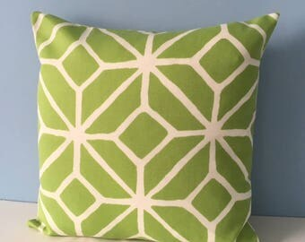 Green indoor outdoor throw pillow. Trina Turk Trellis by Schumacher. 18x18 lime green zipper pillow cover for patio, pool deck. Summer decor