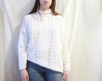 Vintage Cotton Turtleneck Sweater- women's, white, medium, large, crochet, knit, lace, oversized