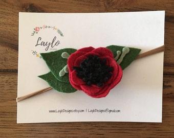 The Mary Lou / crimson red poppy / floral felt flower / baby headband