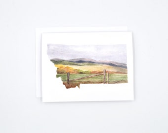 Montana State Art Card - Watercolor Notecard - Montana Gift - Montana Wedding - Blank Notecards - Montana Watercolor - Montana Art