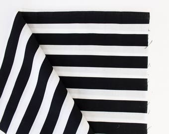 B + White Thick Stripe, fabric, Fabric By the Yard, apparel fabrics, 100% cotton, monochrome