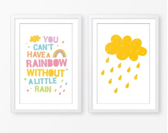 Baby girl poster,cloud poster,typography poster,rainbow poster,poster pack,nursery poster,nursery wall art,kids room decor,instant download