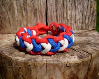 Survival Paracord Bracelet with a Cobra 2X Weave, Men's 550 Parachute Cord Jewelry, Kids Para Cord Jewelry, HIking and Camping Accessories
