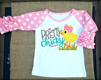 Pretty chicky. girls easter ruffle raglan tee. girls easter shirt. baby girl easter. icing raglan. spring raglan