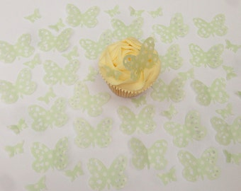 48 Edible Spotty Green Heart Detail Butterfly Wafer Cupcake Toppers Precut